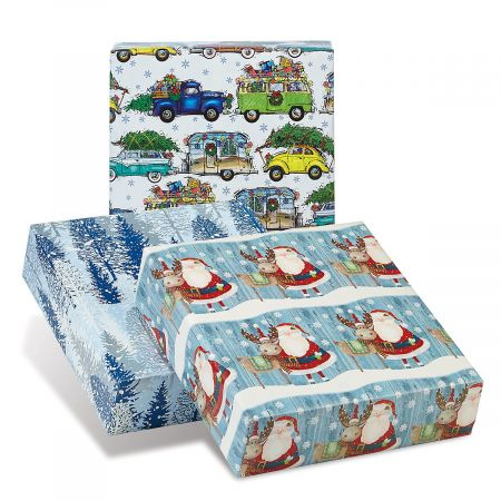 Blue Collection Jumbo Rolled Christmas Wrapping Paper Set