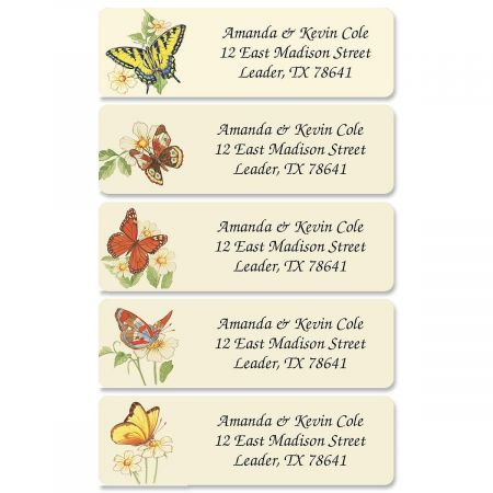 Butterflies Rolled Address Labels  (5 Designs)
