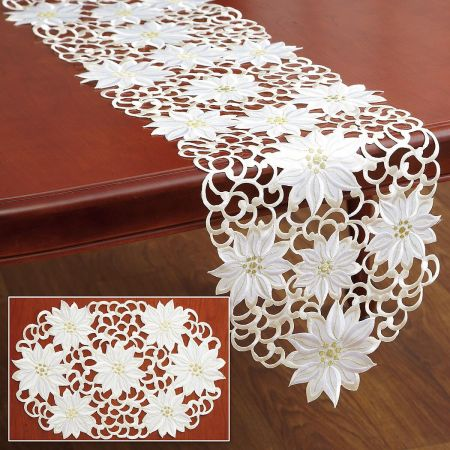 Cream Poinsettia Table Runner & Placemats
