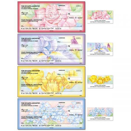 floral fancy single checks with matching address labels current
