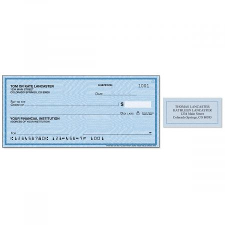 Security Blue Single Checks with Matching Address Labels