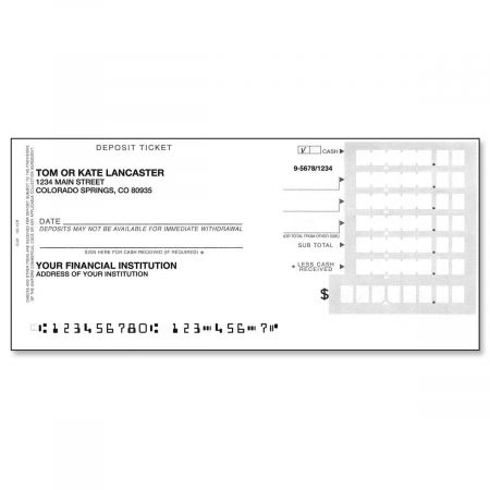 Deposit Slips Just in case you need them! Extra personalized Deposit Slips are available in a 200 single-format set. May ship separately; allow 2-3 weeks for delivery.
