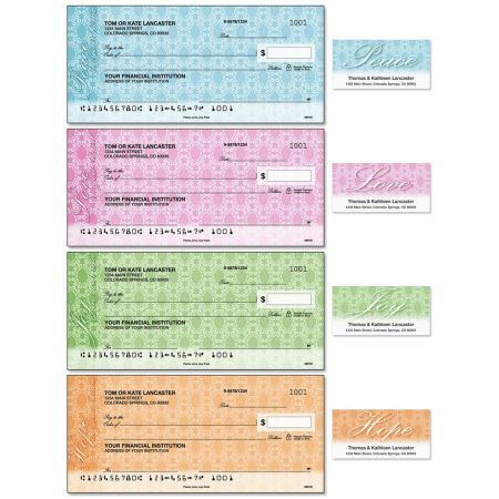 Peace, Love, Joy, Hope Duplicate Checks with Matching Address Labels