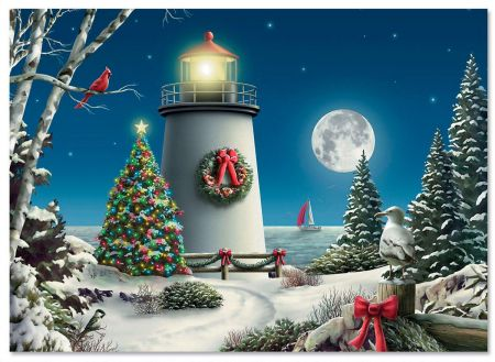 Winter Lighthouse Nonpersonalized Christmas Cards - Set of 18