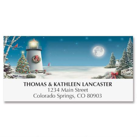 Winter Lighthouse Deluxe Address Labels