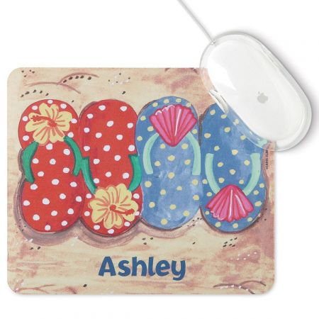 Paradise Mousepad Keep the beach always at hand wherever you surf on the Worldwide Web! Cushy 7 1/2  x 8 3/4  pad has a lint-free soft fabric top and a non-slip flexible foam rubber bottom. Personalized Free! Specify 1 line, up to 12 characters and spaces. Carol Eldridge