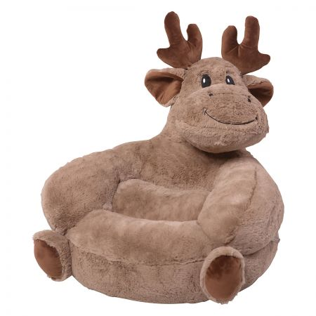 Moose Children's Plush Chair The Moose Plush Character Chair brings delightful whimsy to your little one's world and to any room of the house. Perfect for reading, relaxing, snuggling. Soft outer surface is ideal for cuddling and hugging. Measures 21  x 19  x 19  with contoured support. 100% polyester plush with 100% polyester fill. Spot clean only; use a damp cloth. Suitable for most children ages 12 months and up. Ships directly from the manufacturer. Please allow 1-2 weeks for delivery. Expedited shipping not available. Cannot be sent outside the 48 contiguous states or to a PO Box.