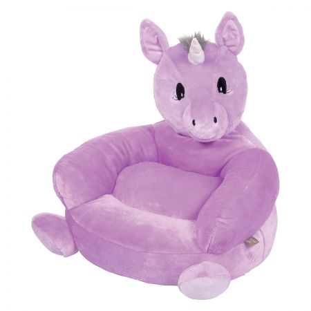 Purple Unicorn Children's Plush Chair The Purple Unicorn Plush Character Chair brings delightful whimsy to your little one's world and to any room of the house. Perfect for reading, relaxing, snuggling. Soft outer surface is ideal for cuddling and hugging. Measures 21  x 19  x 19  with contoured support. 100% polyester plush with 100% polyester fill. Spot clean only; use a damp cloth. Suitable for most children ages 12 months and up. Ships directly from the manufacturer. Please allow 1-2 weeks for delivery. Expedited shipping not available. Cannot be sent outside the 48 contiguous states or to a PO Box.