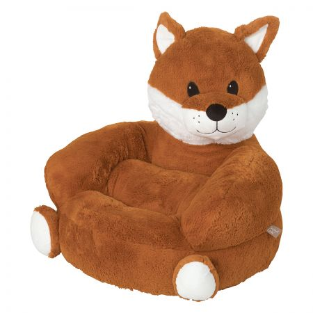 Fox Children's Plush Chair The Fox Plush Character Chair brings delightful whimsy to your little one's world and to any room of the house. Perfect for reading, relaxing, snuggling. Soft outer surface is ideal for cuddling and hugging. Measures 21  x 19  x 19  with contoured support. 100% polyester plush with 100% polyester fill. Spot clean only; use a damp cloth. Suitable for most children ages 12 months and up. Ships directly from the manufacturer. Please allow 1-2 weeks for delivery. Expedited shipping not available. Cannot be sent outside the 48 contiguous states or to a PO Box.