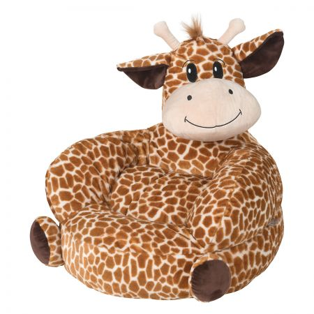 Giraffe Children's Plush Chair The Giraffe Plush Character Chair brings delightful whimsy to your little one's world and to any room of the house. Perfect for reading, relaxing, snuggling. Soft outer surface is ideal for cuddling and hugging. Measures 21  x 19  x 19  with contoured support. 100% polyester plush with 100% polyester fill. Spot clean only; use a damp cloth. Suitable for most children ages 12 months and up. Ships directly from the manufacturer. Please allow 1-2 weeks for delivery. Expedited shipping not available. Cannot be sent outside the 48 contiguous states or to a PO Box.