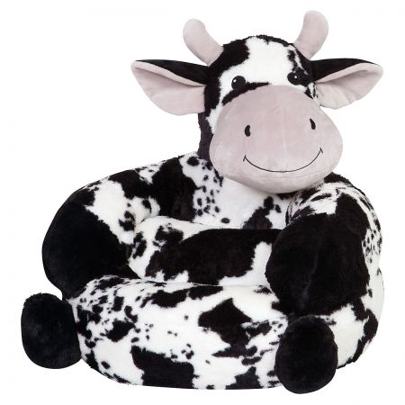 Cow Children's Plush Chair The Cow Plush Character Chair brings delightful whimsy to your little one's world and to any room of the house. Perfect for reading, relaxing, snuggling. Soft outer surface is ideal for cuddling and hugging. Measures 21  x 19  x 19  with contoured support. 100% polyester plush with 100% polyester fill. Spot clean only; use a damp cloth. Suitable for most children ages 12 months and up. Ships directly from the manufacturer. Please allow 1-2 weeks for delivery. Expedited shipping not available. Cannot be sent outside the 48 contiguous states or to a PO Box.