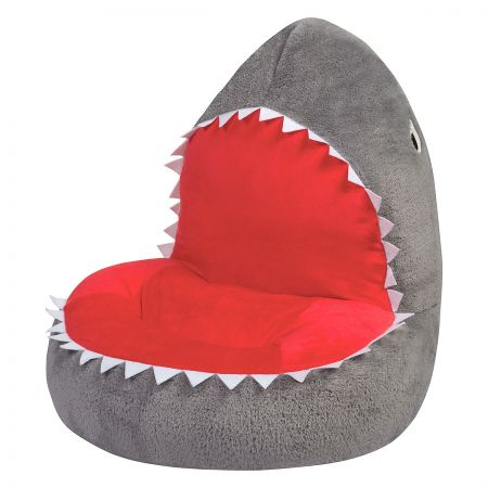 Shark Children's Plush Chair The Shark Plush Character Chair brings delightful whimsy to your little one's world and to any room of the house. Perfect for reading, relaxing, snuggling. Soft outer surface is ideal for cuddling and hugging. Measures 21  x 19  x 19  with contoured support. 100% polyester plush with 100% polyester fill. Spot clean only; use a damp cloth. Suitable for most children ages 12 months and up. Ships directly from the manufacturer. Please allow 1-2 weeks for delivery. Expedited shipping not available. Cannot be sent outside the 48 contiguous states or to a PO Box.