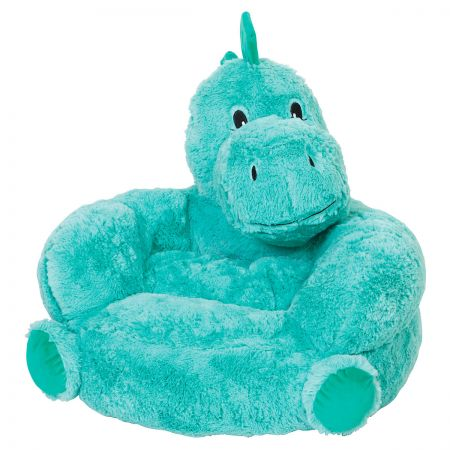 Dino Children's Plush Chair The Dino Plush Character Chair brings delightful whimsy to your little one's world and to any room of the house. Perfect for reading, relaxing, snuggling. Soft outer surface is ideal for cuddling and hugging. Measures 21  x 19  x 19  with contoured support. 100% polyester plush with 100% polyester fill. Spot clean only; use a damp cloth. Suitable for most children ages 12 months and up. Ships directly from the manufacturer. Please allow 1-2 weeks for delivery. Expedited shipping not available. Cannot be sent outside the 48 contiguous states or to a PO Box.