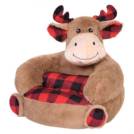 Moose Buffalo Plaid Children's Plush Chair The Moose Buffalo Plaid Plush Character Chair brings delightful whimsy to your little one's world and to any room of the house. Perfect for reading, relaxing, snuggling. Soft outer surface is ideal for cuddling and hugging. Measures 21  x 19  x 19  with contoured support. 100% polyester plush with 100% polyester fill. Spot clean only; use a damp cloth. Suitable for most children ages 12 months and up. Standard shipping only. Expedited shipping not available. Cannot be sent outside the 48 contiguous states, or to P.O. Box, APO/FPO, or foreign addresses.