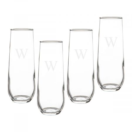 Personalized Stemless Champagne Flutes