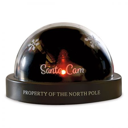 Santa Cam Light Makes a great addition for this holiday season! Keeps your kids on their best behavior before Santa arrives. Plastic Camera has a red LED light and  Property of the North Pole  printed on the bottom. Camera is fake and does not record or have video of any type. Uses 2 AA batteries (not included). Measures 5  x 3 . California Prop 65WARNING: Cancer and Reproductive Harmwww. P65Warnings. ca.gov