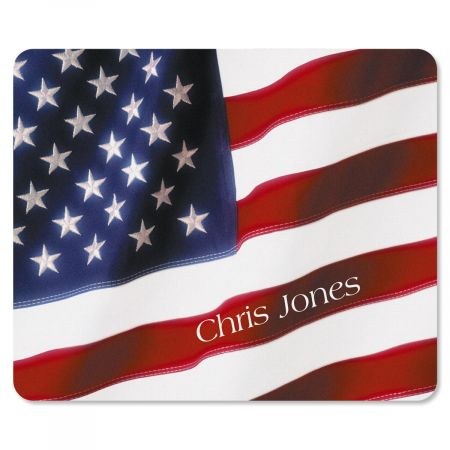 Flag Mousepad Let your patriotism show in your work or home office space. High-quality 7-1/2  x 9-1/4  mousepad has a soft fabric top and a flexible foam rubber bottom. Specify up to 2 lines, up to 12 characters and spaces each Available on Internet Only!