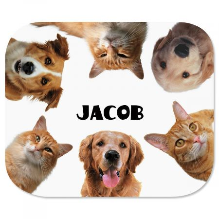 Pets Mousepad Dog and cat lovers will flip over this pet friendly mousepad. High-quality 7-1/2  x 9-1/4  mousepad has a soft fabric top and a flexible foam rubber bottom. Specify up to 2 lines, and up to 12 characters and spaces per line. Available on Internet Only!