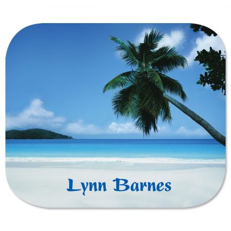 Tropical Mousepad Blue waters and white sands tempt you to escape to paradise even if it's only in your mind. High-quality 7-1/2  x 9-1/4  mousepad has a soft fabric top and a flexible foam rubber bottom. Specify up to 2 lines, and up to 12 characters and spaces per line. Available on Internet Only!