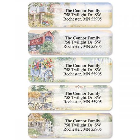 American Countryside Designer Rolled Address Labels  (5 designs)