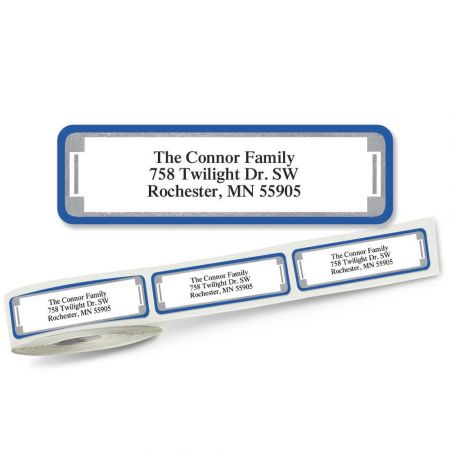 Blue and Silver Frame Rolled Address Labels