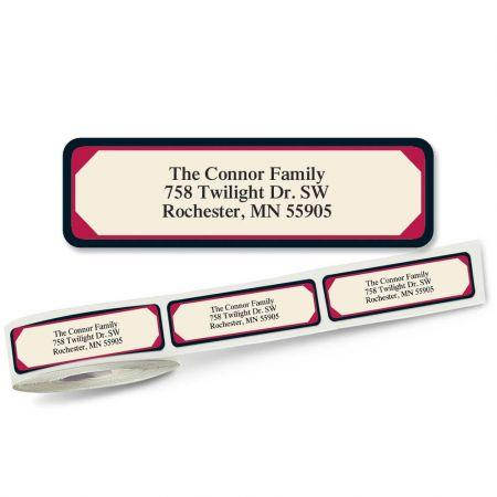 Red & Black Frame Designer Rolled Address Labels