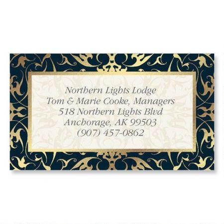 Black Filigree Gold Foil Calling Card