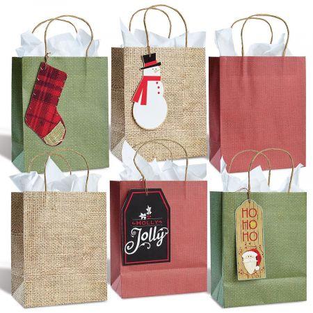 Kraft Burlap Gift Bag Tag