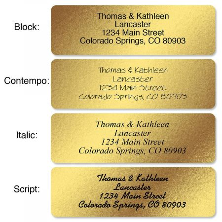 Gold Foil Standard Rolled Address Labels  Christmas Address Labels