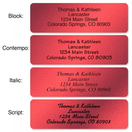 Red Foil Rolled Address Labels