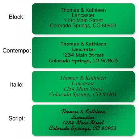 Green Foil with Initial Standard Rolled Address Labels