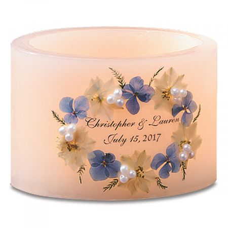 Wedding Hurricane Candle-Blue-362898A