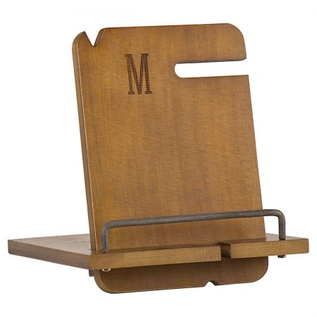 Personalized Wooden Docking Station - Single Initial Personalized Wooden Docking Station