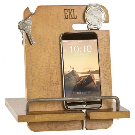 Personalized Wooden Docking Station - 3 Initials Personalized Wooden Docking Station