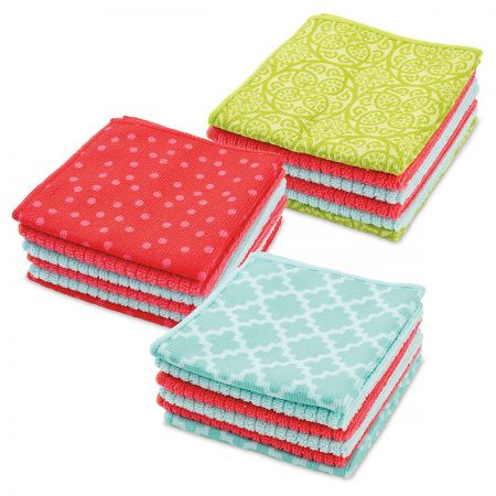 Spring Microfiber Cloths Versatile cloths are 12 x 12 , and they come in 3 springtime assortments of 2 prints and 4 solid colors. We'll choose a set for you. Machine wash/dry.