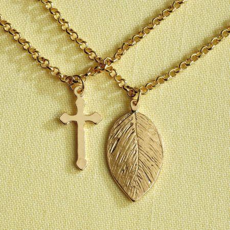 Cross & Aspen Leaf Necklace