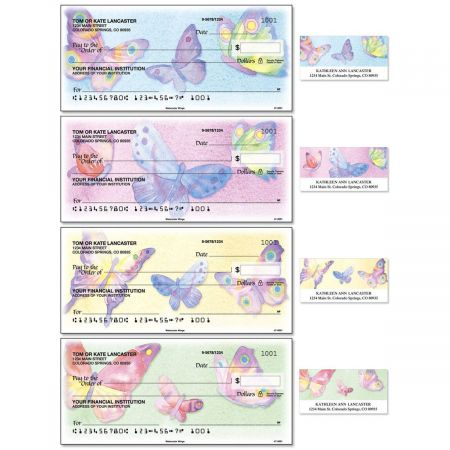 Watercolor Wings Duplicate Checks With Matching Address Labels