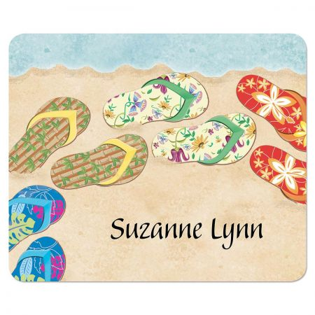 Baja Flip-Flops Mousepad Carefree design makes it a sunny dayno matter what! A simple, everyday way to express your personality and style. Great gift or handy helper, perfectly practical 7 1/2  x 9  mousepad has a lint-free surface and nonslip back. Specify 15 characters and spaces