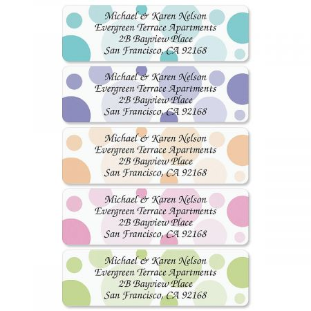 Graphic Dots Rolled Address Label  (5 designs)