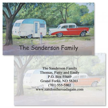 Travel Trailers Two-Sided Calling Card Eye-catching design surrounds your contact information with easy-going style. A professional way to identify yourself to friends or associates, you receive 250 business/calling cards printed on back with the personalization you specify. Each double-sided card measures 2 x3 1/2 . We'll print them with the name and address, message, or information you choose, for a custom-printed look at a fraction of the cost. Paige Bridges Specify block or script (For Back of card only) Front: 1 line, up to 24 characters Back: 6 lines, up to 30 characters.
