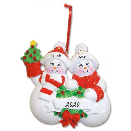 Glittered Snowman Personalized Ornament