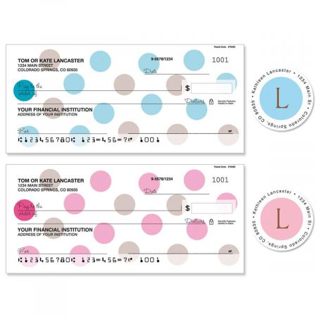 Pastel Dots Single Checks with Matching Address Labels
