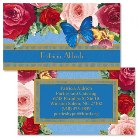 Rediscover Two-Sided Calling Cards For a dramatic presentation, let big bold blossoms call attention to your contact information. A design that won't get lost in the shuffle, set of 250 personalized double-sided business/calling cards measure 2  x 3 1/2  each. We'll print them with the name and address, message, or information you choose, for a custom-printed look at a fraction of the cost. Front: specify up to 26 characters Back: specify block or script and 6 lines, up to 30 characters