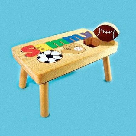 Sports Name Personalized Puzzle Footstool