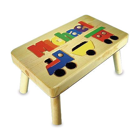 Train Personalized Puzzle Footstool All aboard for learning fun as youngsters discover how to spell their names in a playtime environment. Laminated wooden puzzle holds bright nontoxic painted 3-D letters and train cars, featuring smoothed edges for easy fit; 7 3/4  tall, 14 -16  wide, depending on length of name. Made in the USA. Specify up to 8 characters (single name only). Standard shipping only. Expedited shipping not available. Cannot be sent outside the 48 contiguous states, or to P.O. Box, APO/FPO, or foreign addresses.