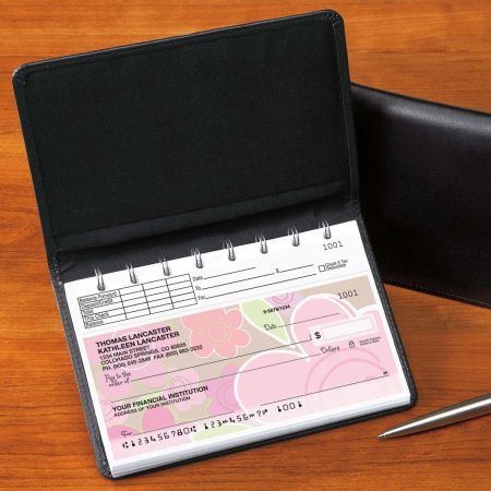 Top Stub Leather  Checkbook Cover-Black-476862A