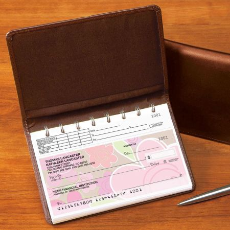 Top Stub Leather  Checkbook Cover-Brown-476862B