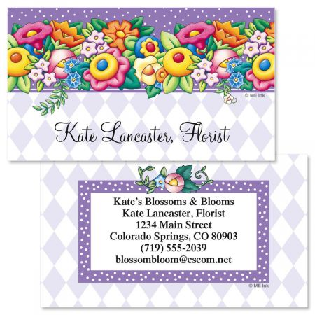 Mary Engelbreit Blossom Double-Sided Business Card Count on this whimsical design by Mary to give your contact information unique pizzazz! A memorable, professional way to identify yourself to friends, associates, or prospective employers, here's a card that won't get lost in the shuffle. We'll print them with the name and address, message, or information you choose, for a custom-printed look at a fraction of the cost. 250 business cards. Each standard card measures 2 x 3-1/2 . Personalization: Front: specify 1 line, up to 26 characters Back: specify block or script and 6 lines, up to 30 characters 2018 Mary Engelbreit Studios, Inc.