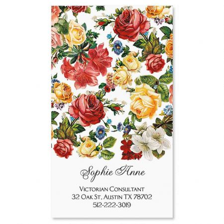 Victorian Roses Vertical Calling Card Everything will come up roses if you hand out your contact info with this classic design. Eye-catching cards make a positive impression and are perfect for networking! Sets contain 250 single-sided 2  x 3 1/2  cards. Specify 1 line, up to 18 characters and lines 2-4, up to 30 characters each.