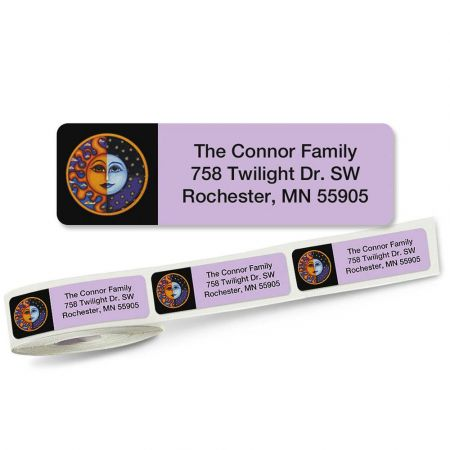 Sun and Moon Rolled Address Labels